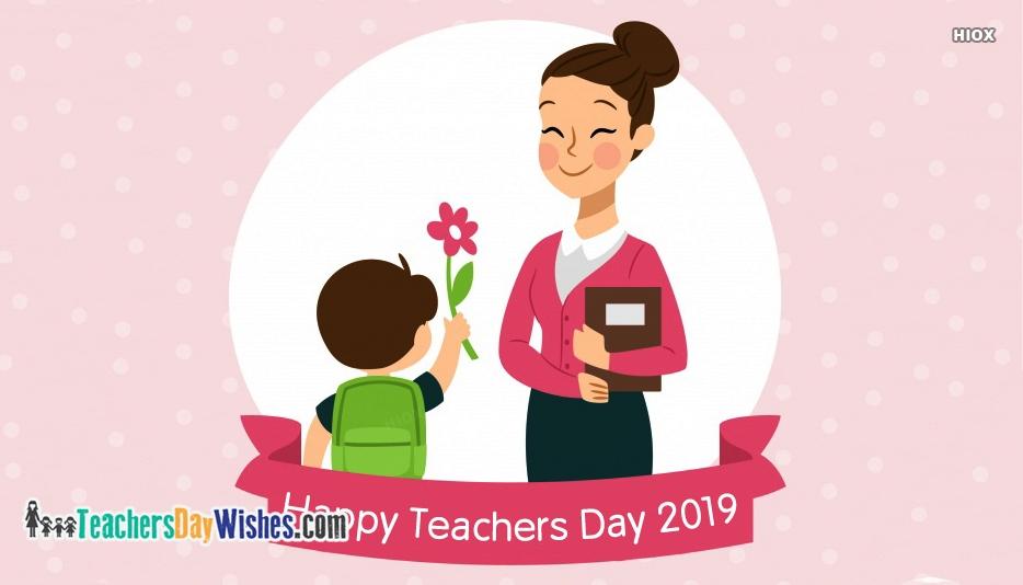 happy teachers day cartoon boy with flower