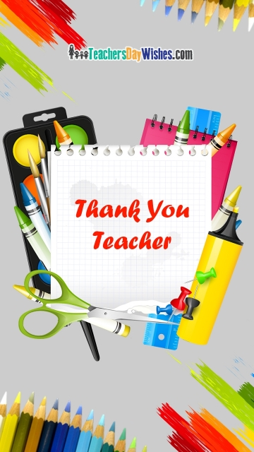 Thank You Teacher Colorful Greetings