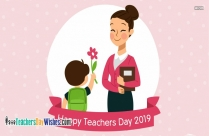 happy teachers day cartoon boy with flower