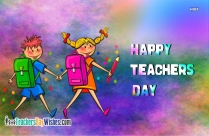 happy teachers day cartoon boy and gil